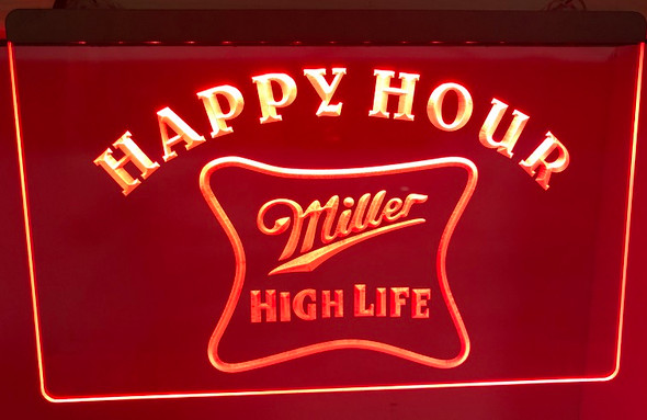Miller High Life Happy Hour Acrylic LED Sign