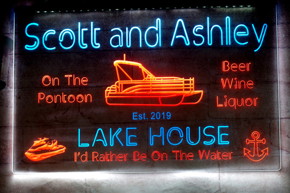 2 Color YOUR NAME Lake House LED Sign