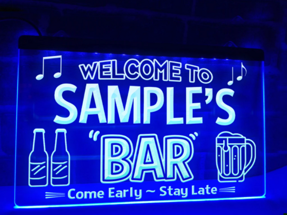 """Welcome to """"YOUR NAME'S"""" Bar LED Sign"""