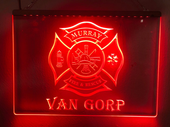 Volunteer Fireman Personalized Acrylic LED Sign