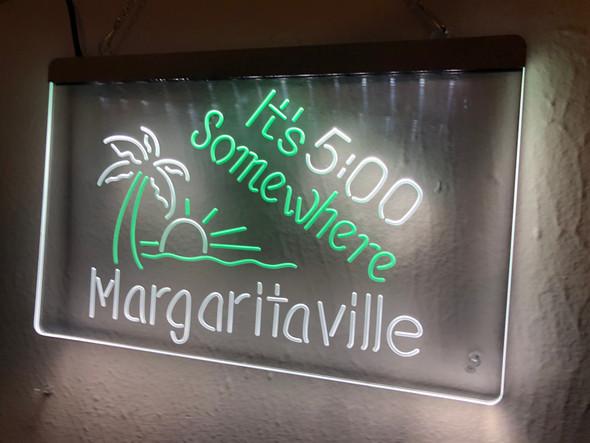 2 Color 5 O' Clock Somewhere Margaritaville Custom LED Sign
