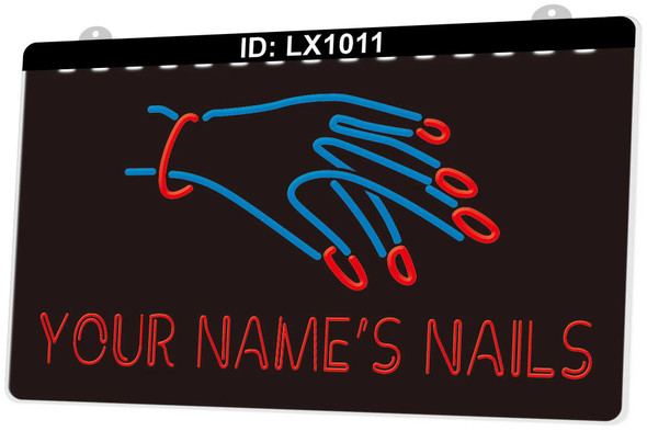 2 Color Custom YOUR NAME'S Nail Salon LED Sign