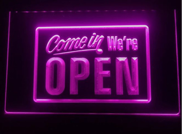 Custom Made Come in We're Open LED Sign
