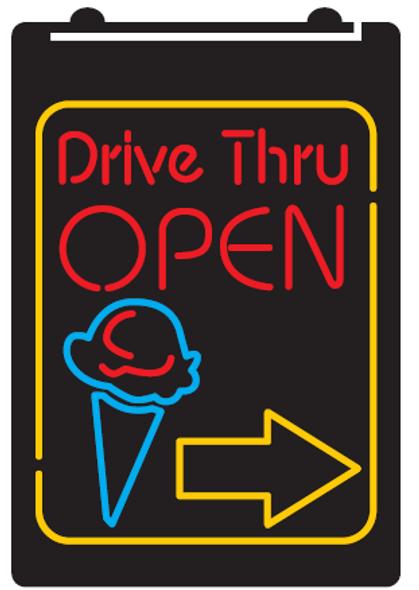 Custom  2 Color Drive Thru Open Ice Cream LED Sign