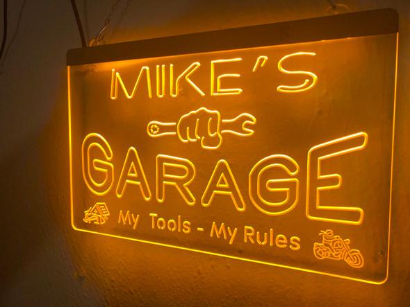 Custom YOUR NAME Garage Acrylic LED Sign