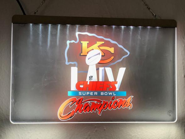 Full Color Custom Kansas City Chiefs  Super Bowl Champions Acrylic UV LED Sign
