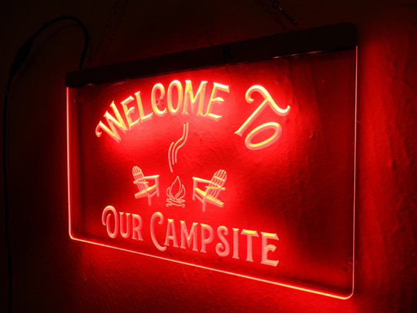 Welcome To Our Campsite Custom Acrylic LED Sign
