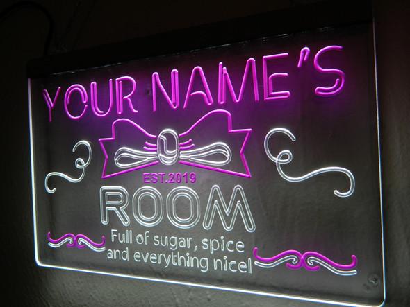 Custom 2 Color Girl's Name Room LED Sign