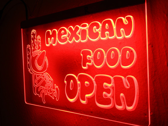 Custom Mexican Food Open Acrylic LED Sign