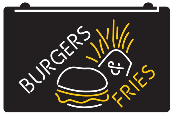 2  Color Burgers & Fries LED Sign