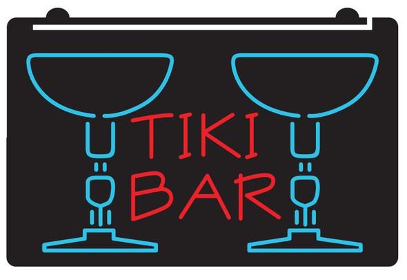 2  Color Tiki Bar Glasses LED Sign