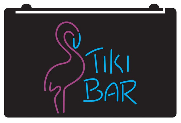 2  Color Tiki with Flamingo LED Sign