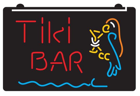 5 Color Custom Tiki Parrot w/ Drink LED Sign