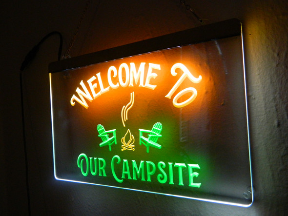 2 Color Custom Welcome To Our Campsite  Acrylic LED Sign