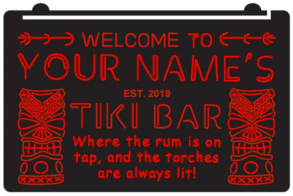"""Custom 1 Color Tiki Bar """"YOUR NAME"""" Acrylic LED Sign"""