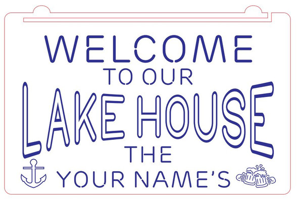Welcome To Our Lake House Acrylic LED Sign - Add Your Name