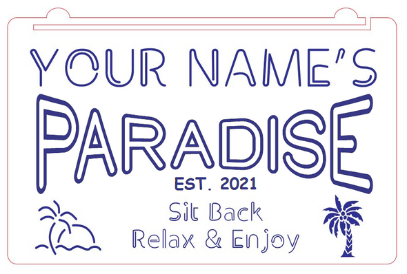 Welcome To Our Paradise Acrylic LED Sign