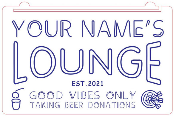 """""""Your Name's"""" Lounge Acrylic LED Sign"""