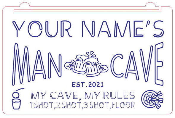 """""""Your Name's"""" Man Cave Acrylic LED Sign"""