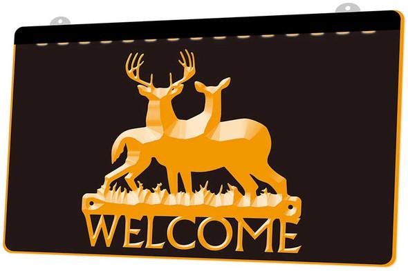 Deer Welcome Acrylic LED Sign