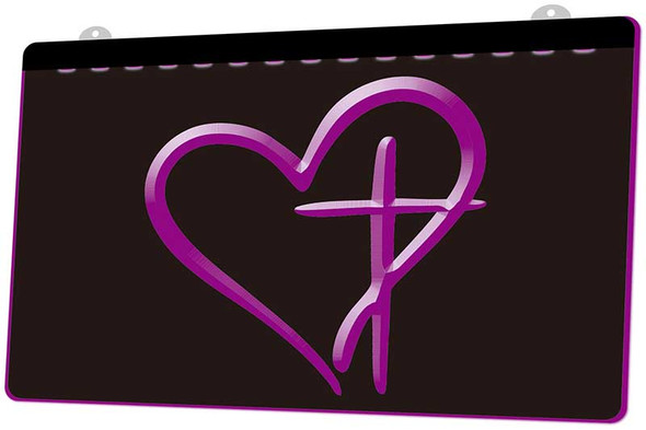 Cross & Heart Acrylic LED Sign