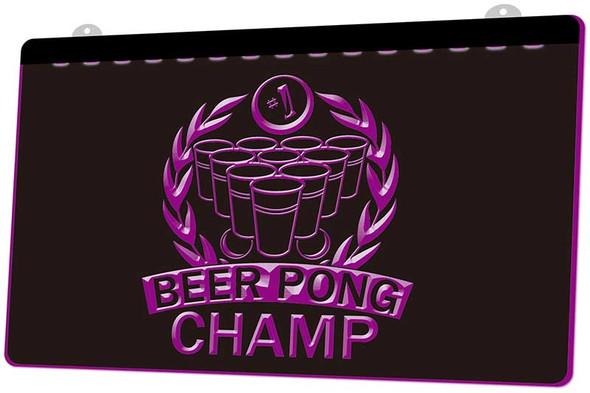 Beer Pong Champ Acrylic LED Sign