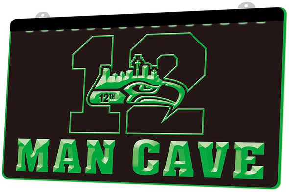 12th Man Seattle Seahawks Man Cave Acrylic LED Sign