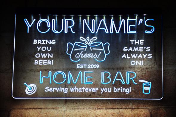 2 Color Custom Acrylic Home Bar LED Sign Option 1