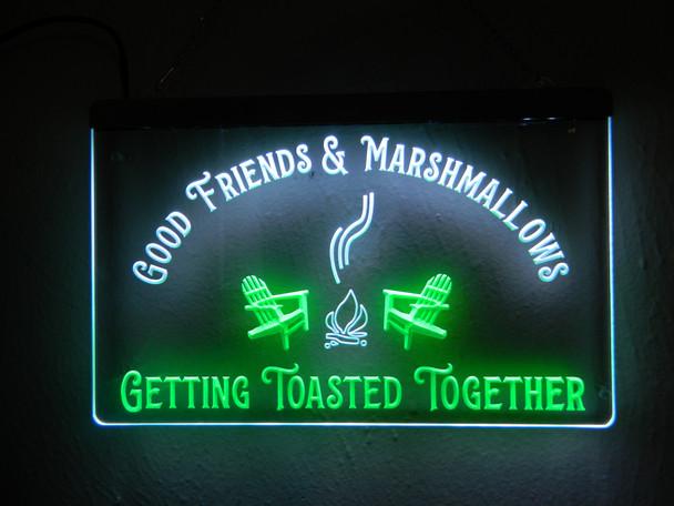 2 Color Custom Campsite Good Friends & Marshmallows Acrylic LED Sign