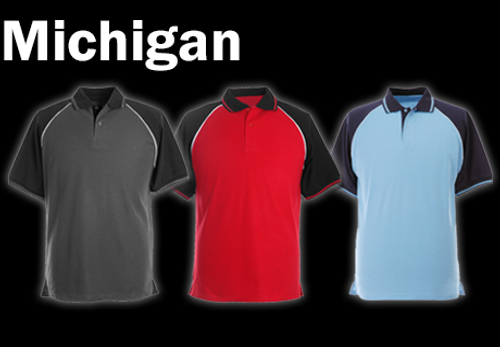 MICHIGAN Polo Shirt - Sky Blue/Navy/White