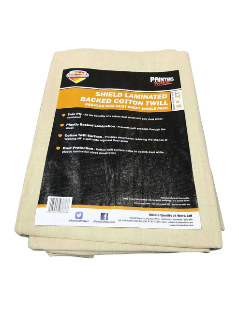 Shield Laminated Cotton Dust Sheet - 12' x 9'