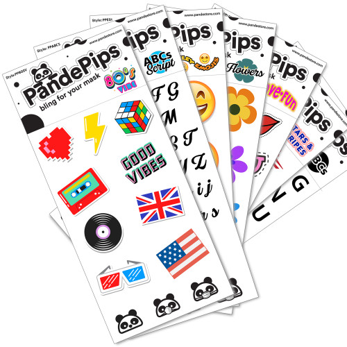 Pande Pips - Fabric Stickers to Personalize Any Mask - Make Wearing a Mask a Little More Fun!