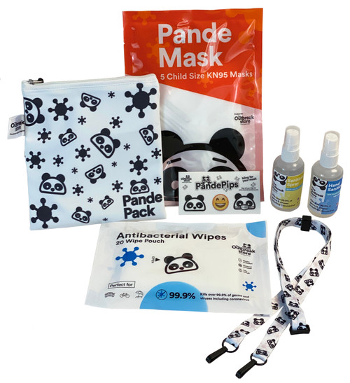 Each Pande Pack comes with 5 child-size KN95 masks, one 2oz bottle of Hand Sanitizing Spray, 2oz bottle of Sanitizing Surface Spray, 20 count of antibacterial wipes, a reusable cotton pouch with waterproof liner, 3 Pande Pips mask stickers and a BONUS Official Outbreak Store Mask Lanyard!