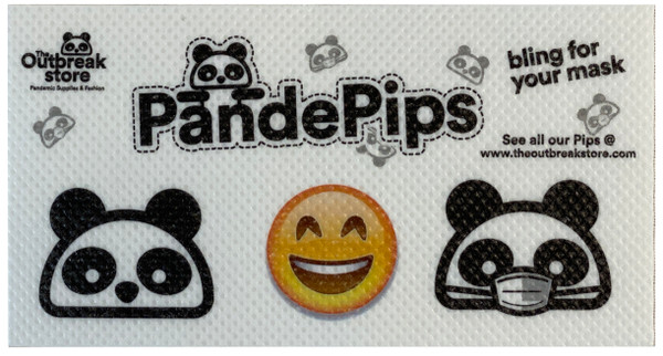 Each Pande Pack comes with a sheet of 3 fun Pande Pip mask stickers!