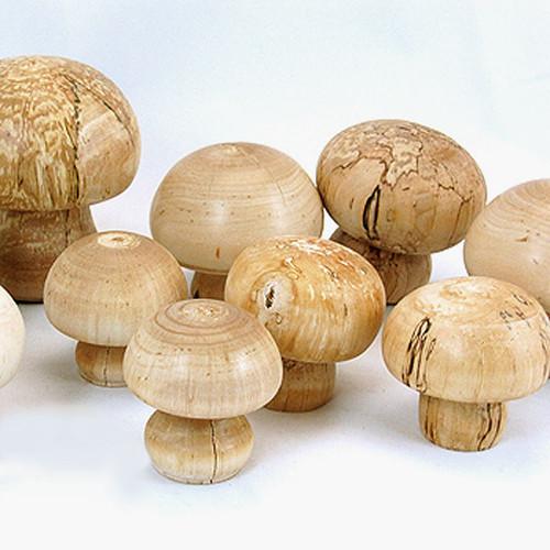 Wooden Mushrooms, set of 3
