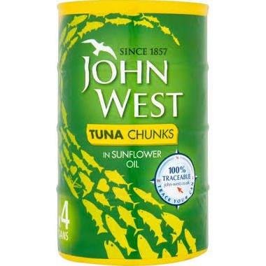 John West Tuna Chunks in Sunflower Oiil, 4 x 132g