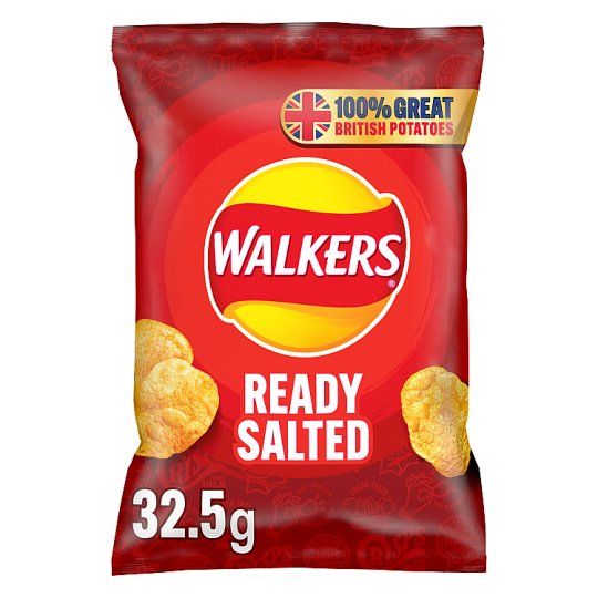 Walkers Ready Salted Crisps 32.5g (Single packet)