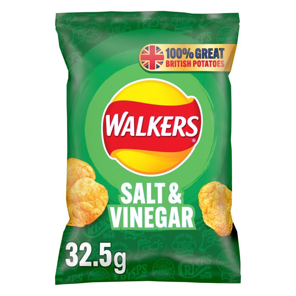 Walkers Salt & Vinegar Crisps 32.5g (Single packet)
