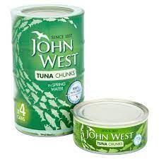 John West Tuna Chunks in Spring Water, 4 x 100g