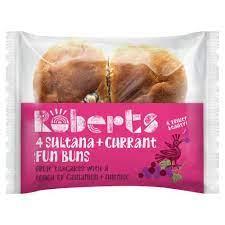 Roberts 4 Sultana + Currant Fun Buns 300g