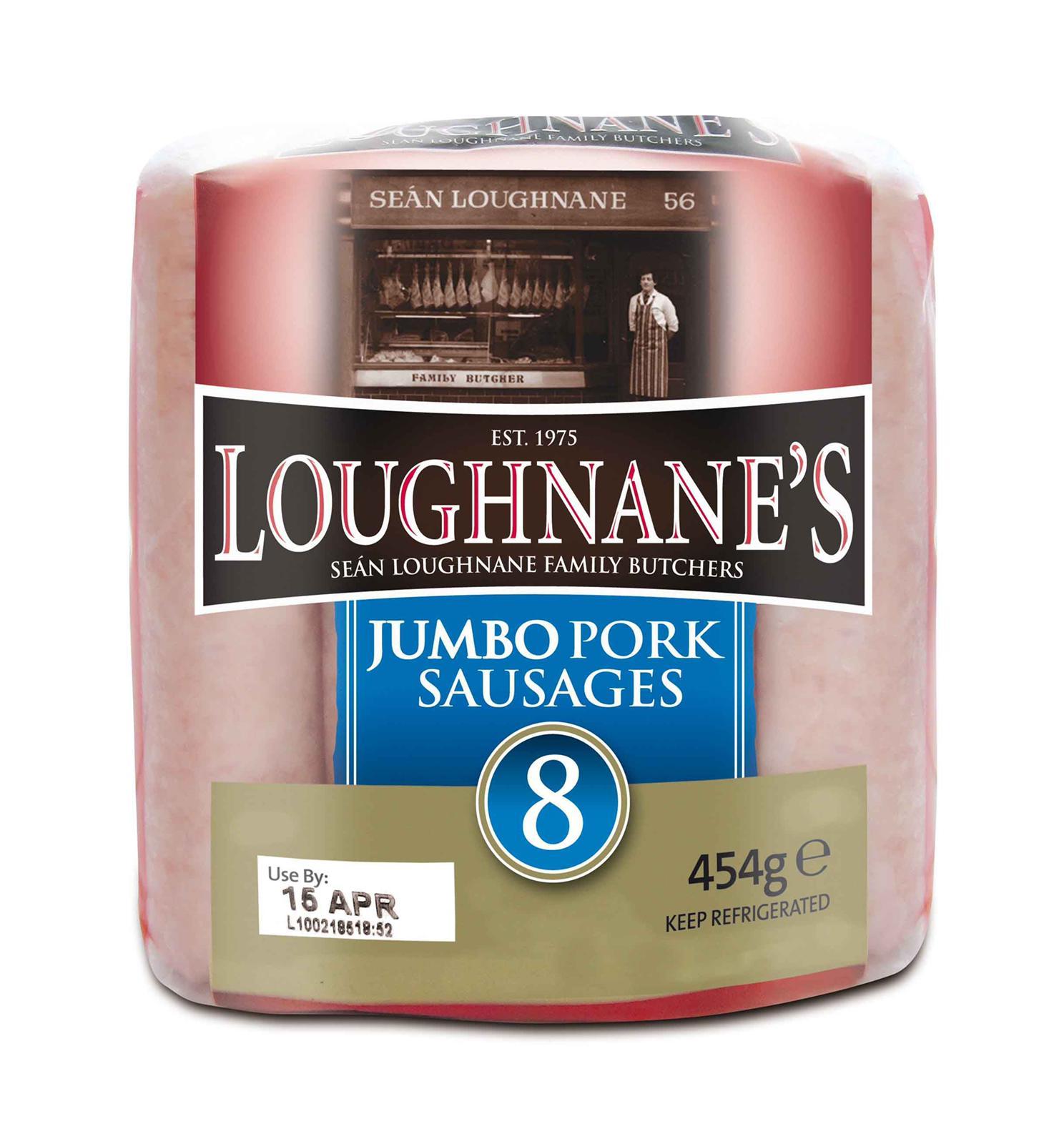Loughnanes 8 Jumbo Pork Sausages 454g