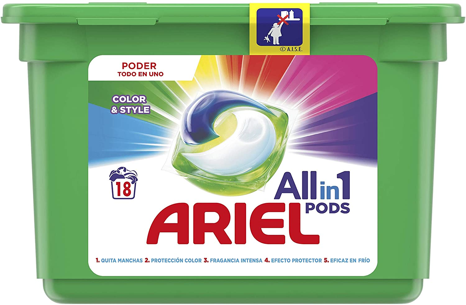 Ariel 3 in 1 Pods Colour & Style (18 washes)