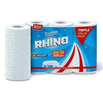 Rhino 3 Ply Kitchen Roll (3pk)