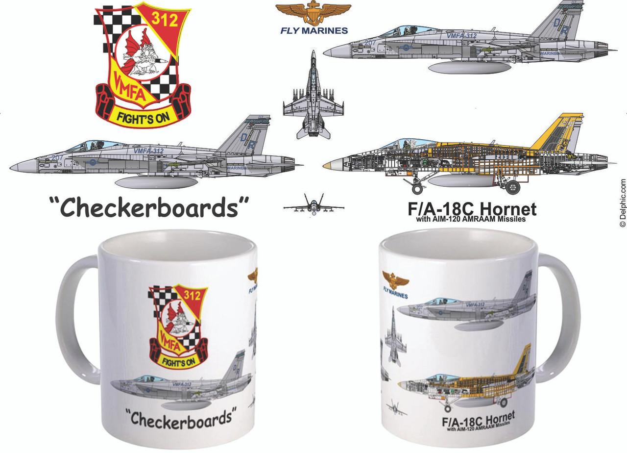 "VMFA-312 ""Checkerboards"" F/A-18 Hornet Mug"