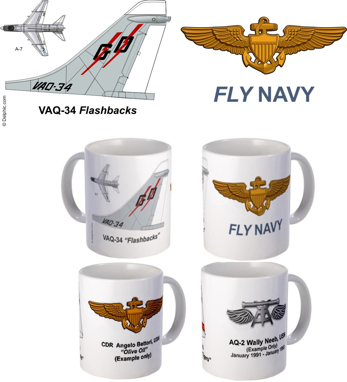 "VAQ-34 ""Flash Backs"" A-7 Corsair II Mug"