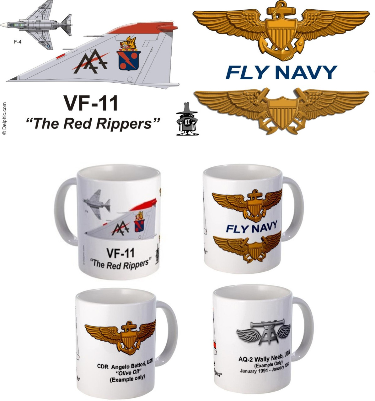 "VF-11 ""Red Rippers"" F-4 Phantom II Mug"