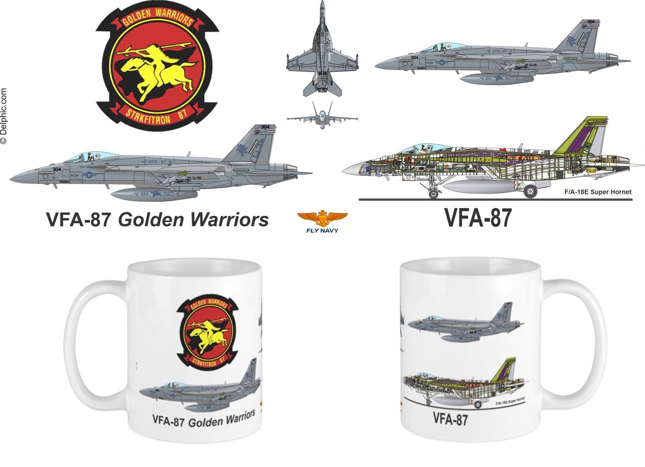 """VFA-87 """"Golden Warriors"""" F/A-18 Super Hornet Mug"""