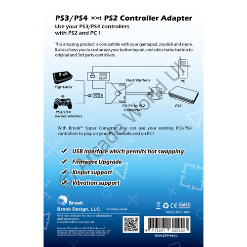 Brook PS3/PS4 to PS2 Controller Adapter