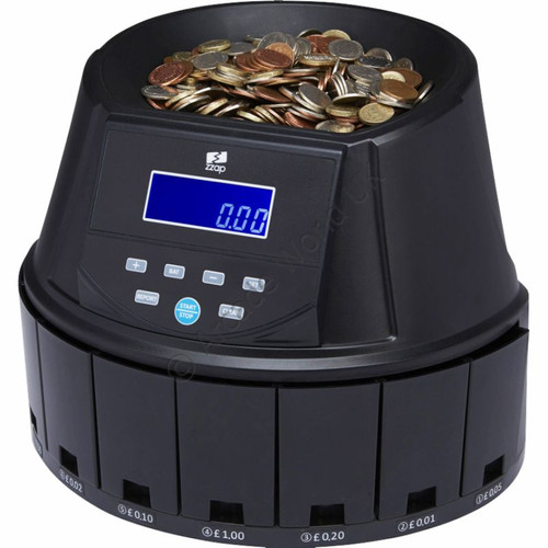 ZZap CS30 Coin Counter - 300 Coins Per Minute - 3 Year Warranty