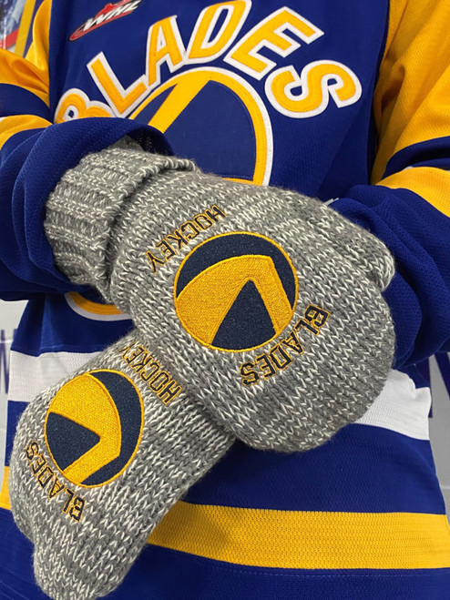 Grey Blades Hockey Mitten